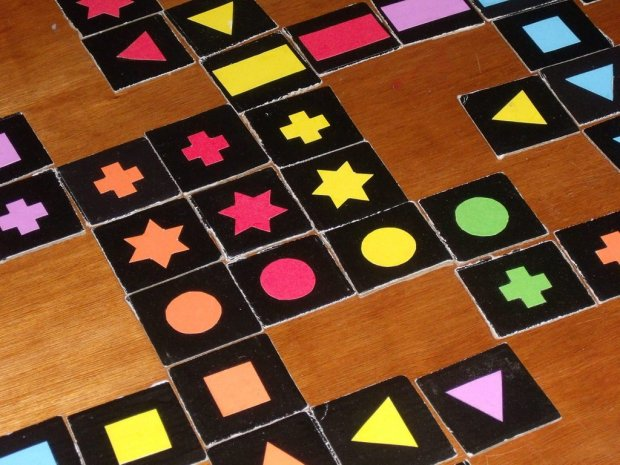 Diy Qwirkle game tiles up close